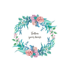 Watercolor vintage rose flower wedding card vector