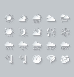 Weather simple paper cut icons set vector