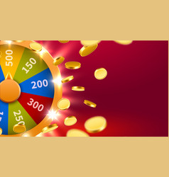 Wheel fortune with falling coins gamble chance vector