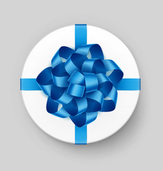 white round gift box with shiny blue bow vector image