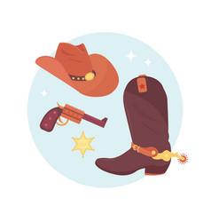 wild west elements set cowboy accessories vector image