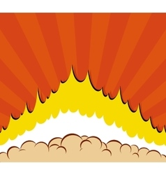 Boom Comic book explosion background with sun vector image vector image