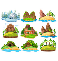 different buildings and things on islands vector image