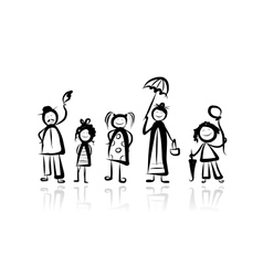 Family walking sketch for your design vector image vector image