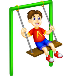 funny boy cartoon playing swing with laughing vector image vector image