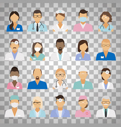 medical staff avatars on transparent background vector image vector image