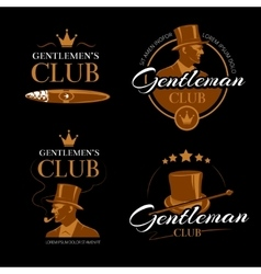 Pipe mens club gentlemen logos set vector image vector image