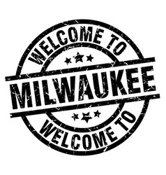 welcome to milwaukee black stamp vector image