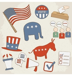 Election hand drawn icons vector image
