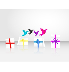 origami birds start to fly from giftbox vector image