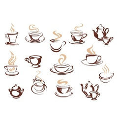 Set of doodle sketch coffee icons vector