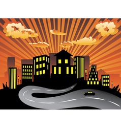Sunset City and Road Silhouette vector image vector image