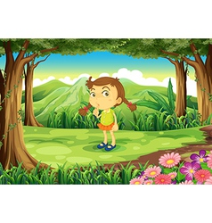 A cute little girl at the forest vector image vector image