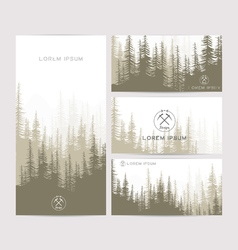 Business cards design set of brown forest and vector image