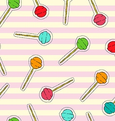 Candy lollipop art stitch patch background vector image vector image