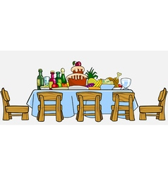 cartoon table with chairs and cluttered food vector image