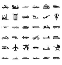 Great transport icons set simple style vector