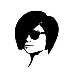portrait of beautiful woman in black sunglasses vector image