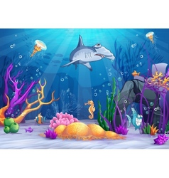 the underwater world with a funny fish and vector image vector image