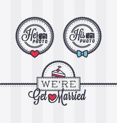 Weddings photo stamps vector image