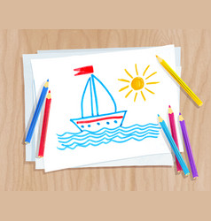 Color pencils lying on paper with child drawing vector