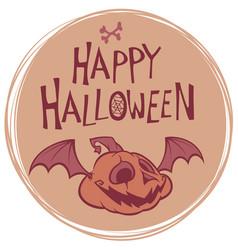 happy halloween poster with pumpkin head vector image vector image