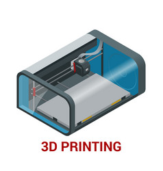 new generation of 3d printing machine printing a vector image