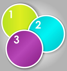 Set 3 of numbered round stickers vector image vector image