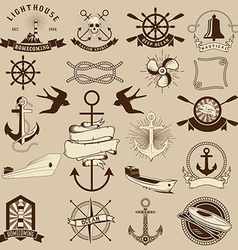 Set of the nautical emblems and design elements vector image