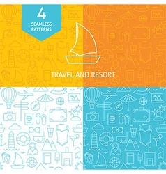 Thin Line Art Summer Holiday Travel Patterns Set vector image