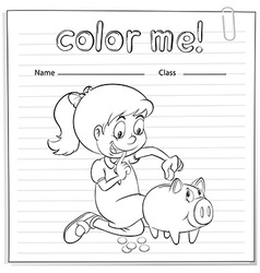 Worksheet showing a thrifty girl vector image vector image