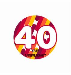 40 year anniversary purple template design vector
