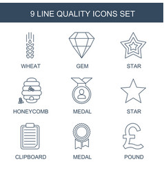 9 quality icons vector image