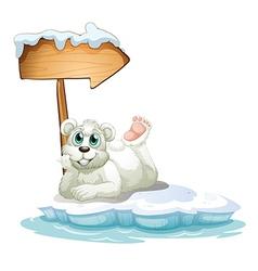A smiling polar bear under the wooden arrow vector