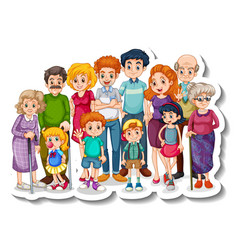 A sticker template with happy big family members vector