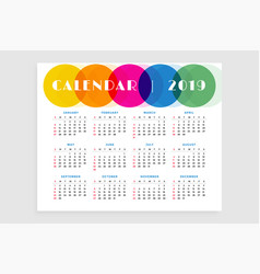 Abstract 2019 calendar design template vector