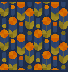 Abstract round shape flowers seamless pattern vector