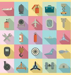 Aircraft repair icons set flat style vector