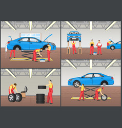 automobile workshop set of vector image