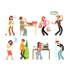 Bad habits unhealthy lifestyle alcoholism drug vector