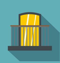 balcony with iron railing i icon flat style vector image
