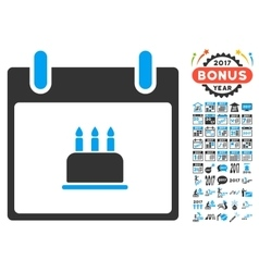 Birthday Cake Calendar Day Flat Icon With vector