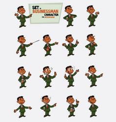 Black businessman set of postures of the same vector