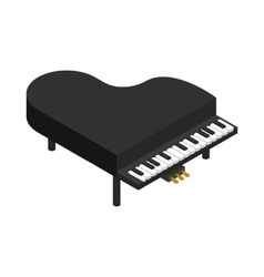 Black grand piano icon isometric 3d style vector