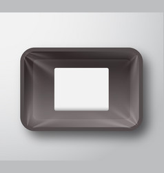 Black plastic empty food tray container with vector