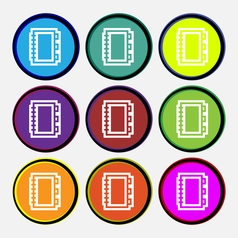 Book icon sign Nine multi colored round buttons vector image