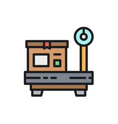 box on scales package weighing flat color icon vector image