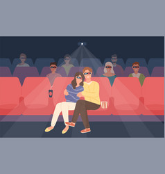 Boyfriend and girlfriend sitting in stereoscopic vector
