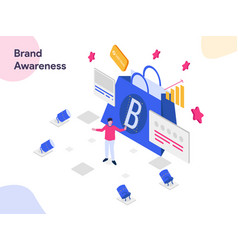 Brand awareness isometric modern flat design vector