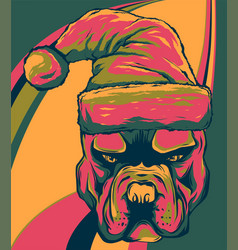 bull dog with santa claus hat vector image